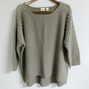 Cato Gray Green Sweater with Pearl Embellishments